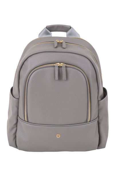 Grey Faux Leather Slim Backpack