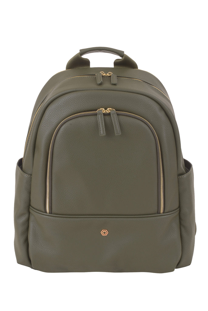 Green Faux Leather Slim Backpack