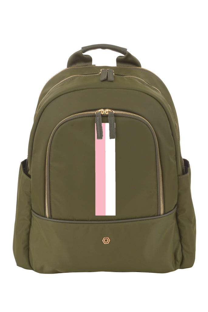 Green with Blush & White Slim Backpack