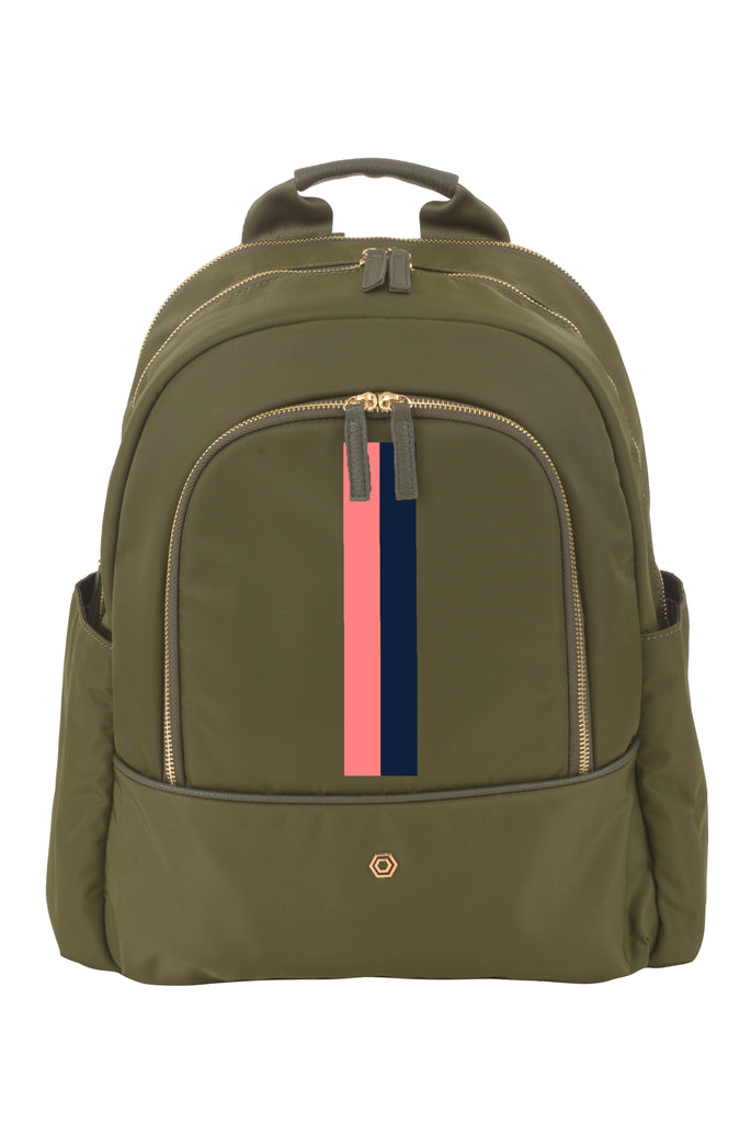 Green with Coral & Navy Slim Backpack