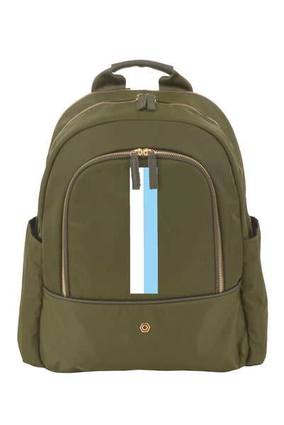 Green with Light Blue & White Slim Backpack