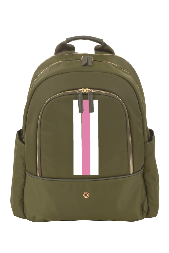 Green with Pink & White Slim Backpack