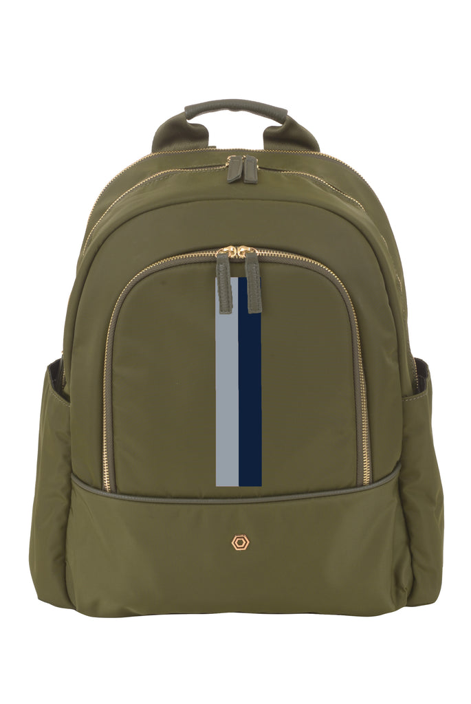 Green with Grey & Navy Slim Backpack