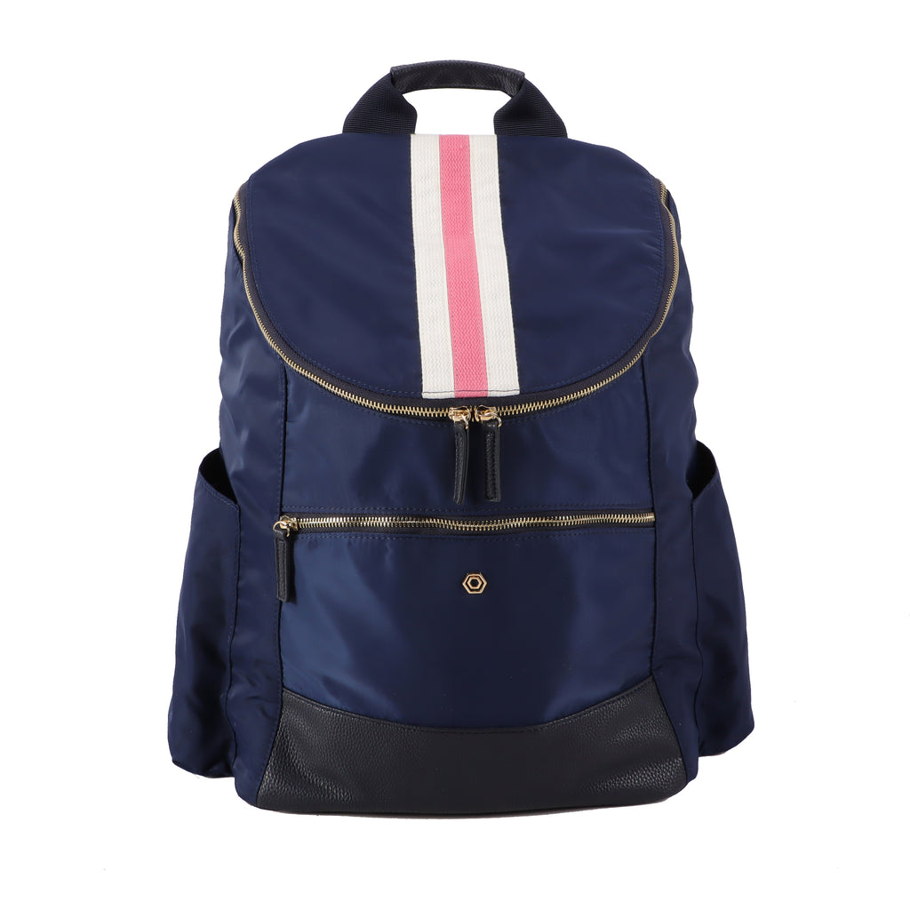 Navy Classic Backpack with Pink & White