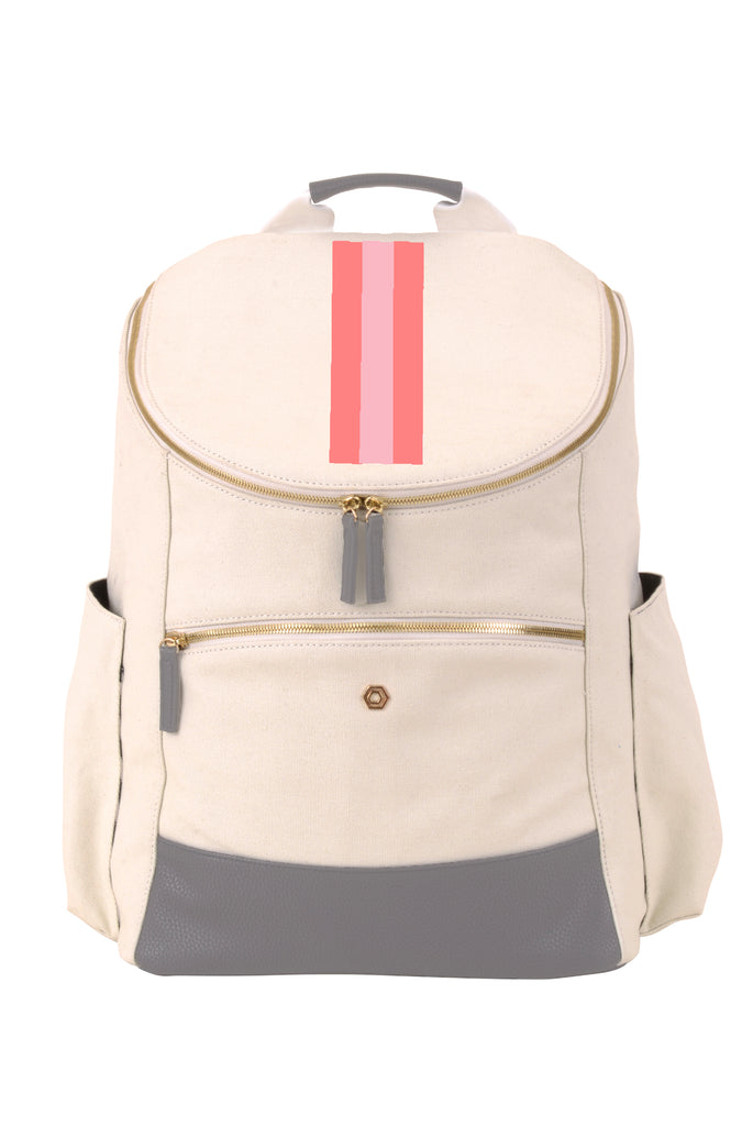 Natural & Charcoal with Blush & Coral Classic Backpack