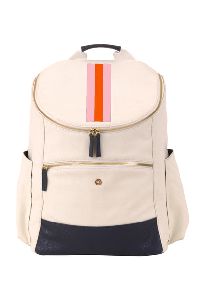 Natural & Navy with Blush & Orange Classic Backpack