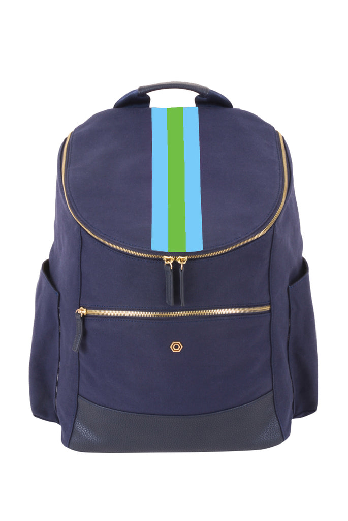 Navy Classic Backpack with Blue & Green