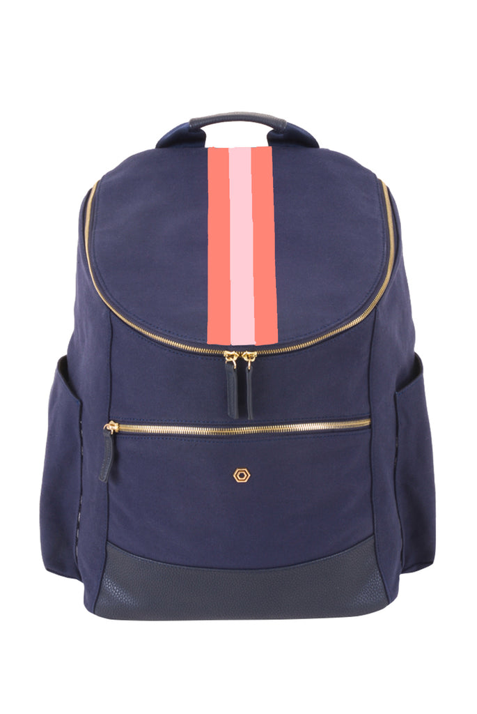 Navy Classic Backpack with Coral & Blush