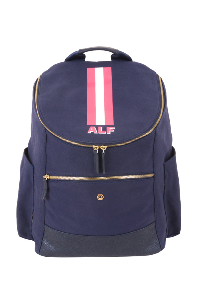 Navy with Fuchsia & White Classic Backpack