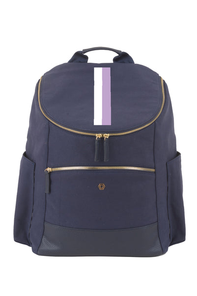 Navy with Lavender & White Classic Backpack