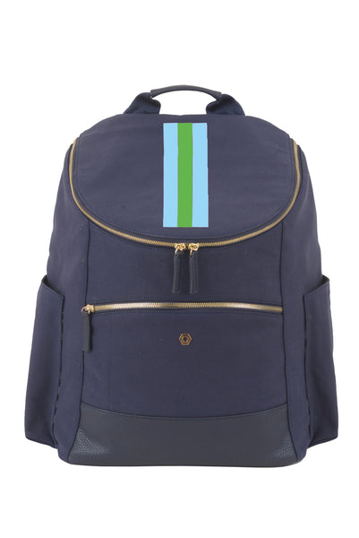 Navy with Green & Aqua Classic Backpack