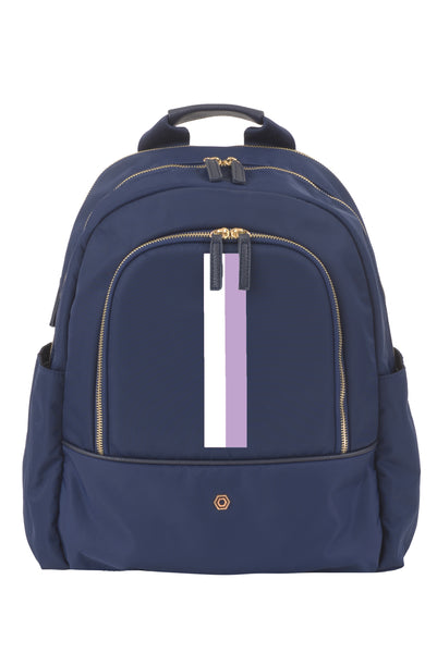 Navy with Lavender & White Slim Backpack