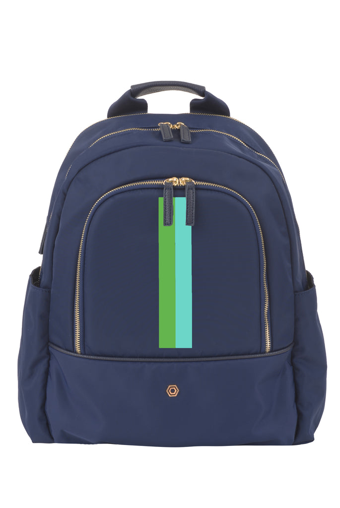 Navy with Aqua & Green Slim Backpack