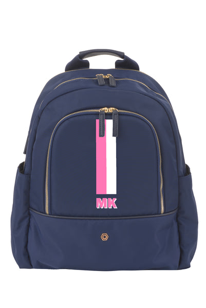 Navy with Pink & White Slim Backpack