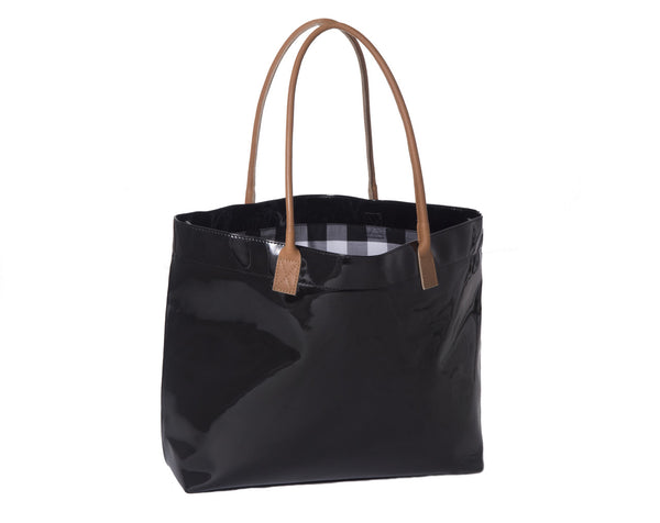 Navy Patent Tote