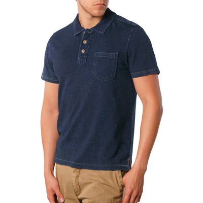 Humbolt indigo short sleeve polo