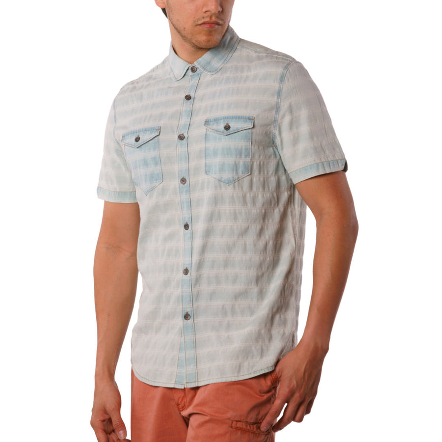 Abbott Indigo dobby Stripe short sleeve button down