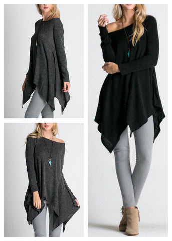 asymmetrical loose-fit tunic sweater :: available in 2 colors!