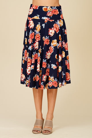 banded floral pocket skirt