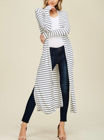 striped cardi with pockets