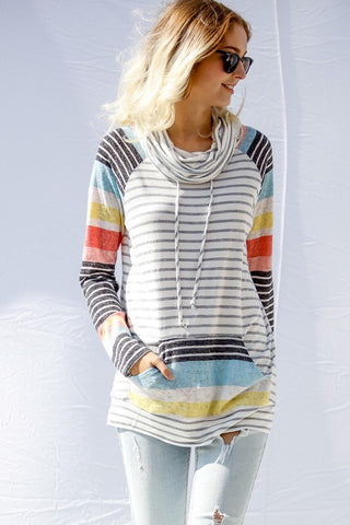 colorblock striped cowl neck top