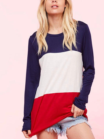 all-American colorblock long sleeve