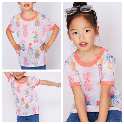 kids watercolor pineapple ringer tee