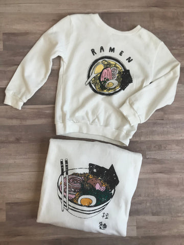 kids little and mama ramen sweatshirts