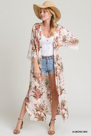 Floral Duster With Scallop Lace Trim