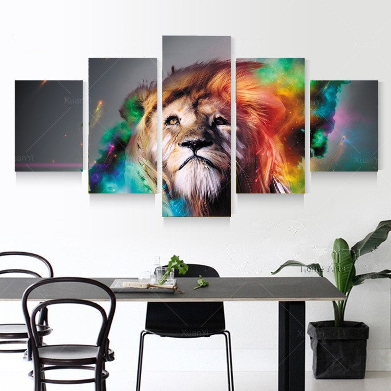 Abstract 5 piece Lion Oil Painting
