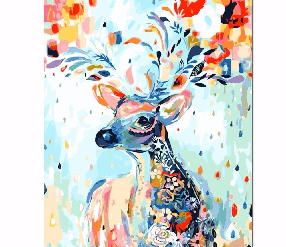 "Decorative Deer DIY ""Paint by Numbers"" Oil Painting"