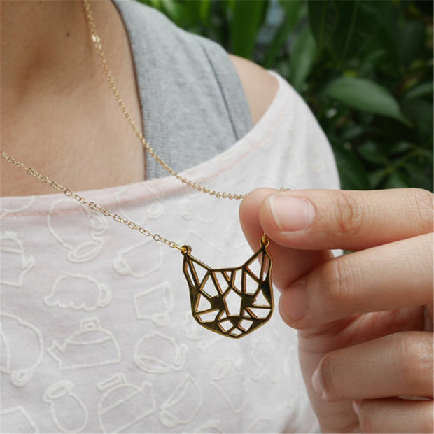 Origami Cat Face Necklace - Gold and Silver Available