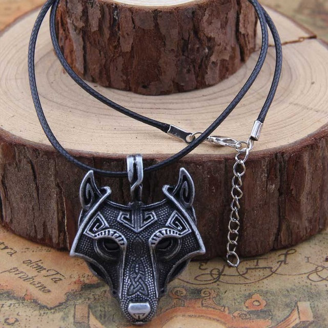 Vikings Wolf Head Pendant Necklace