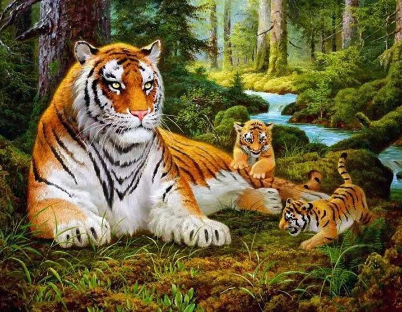"Family of Tigers DIY ""Paint by Numbers"" Acrylic Artwork  - 40x50cm"