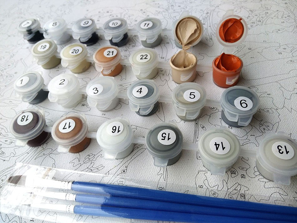 DIY 'Paint by Numbers' Wolf Painting