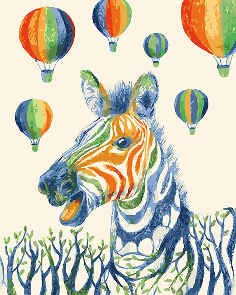 "Happiest Rainbow Zebra DIY ""Paint by Numbers"" Acrylic Painting"