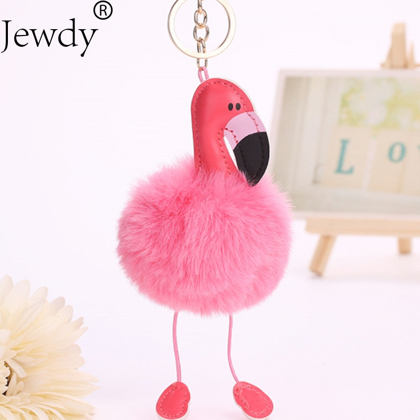 Flamingo Pompom Key Chain