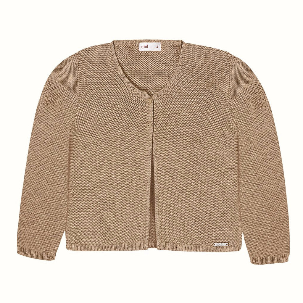 Moss Stitched Two Button Cardigan- Camel (6m, 12m, 18m)