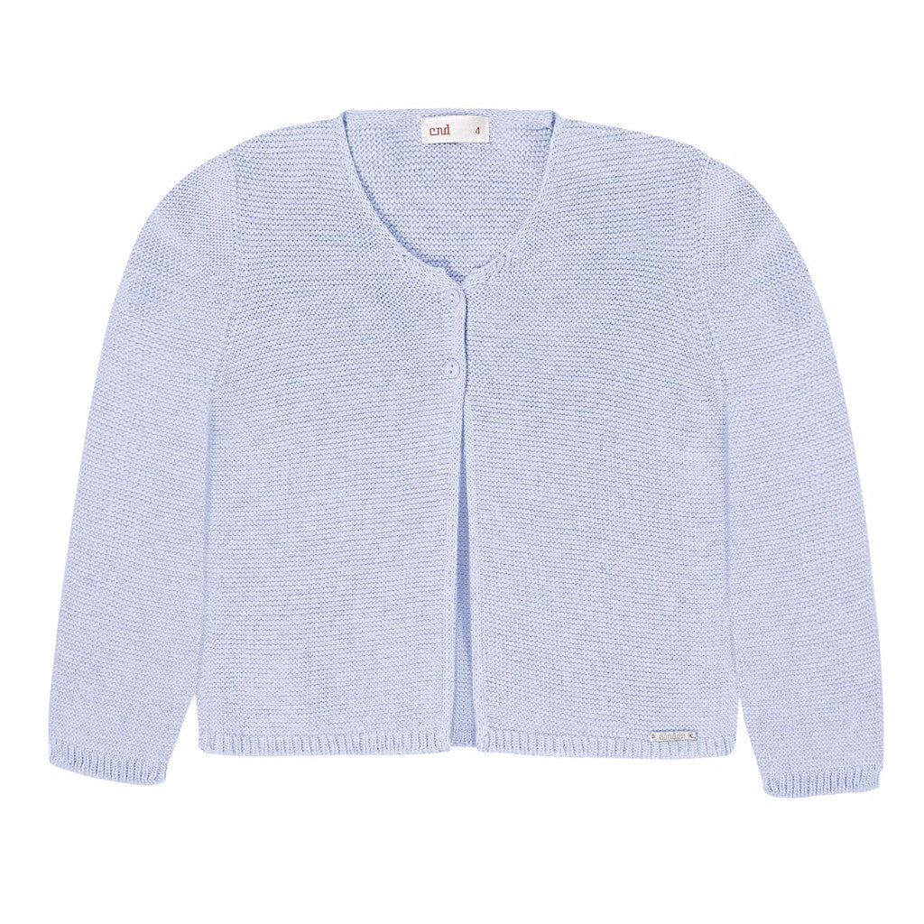 Moss Stitched Two Button Cardigan- Blue (6m, 12m, 18m)