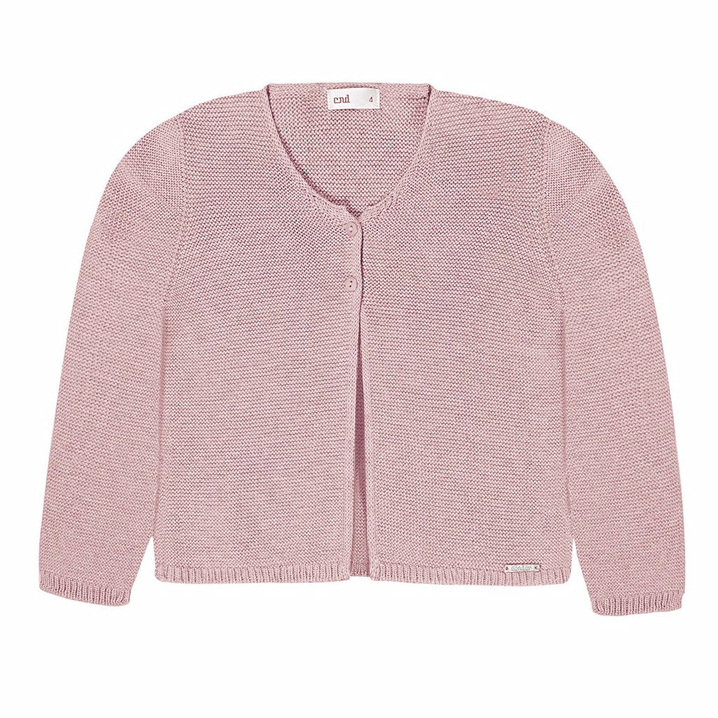 Moss Stitched Two Button Cardigan- Pale Pink