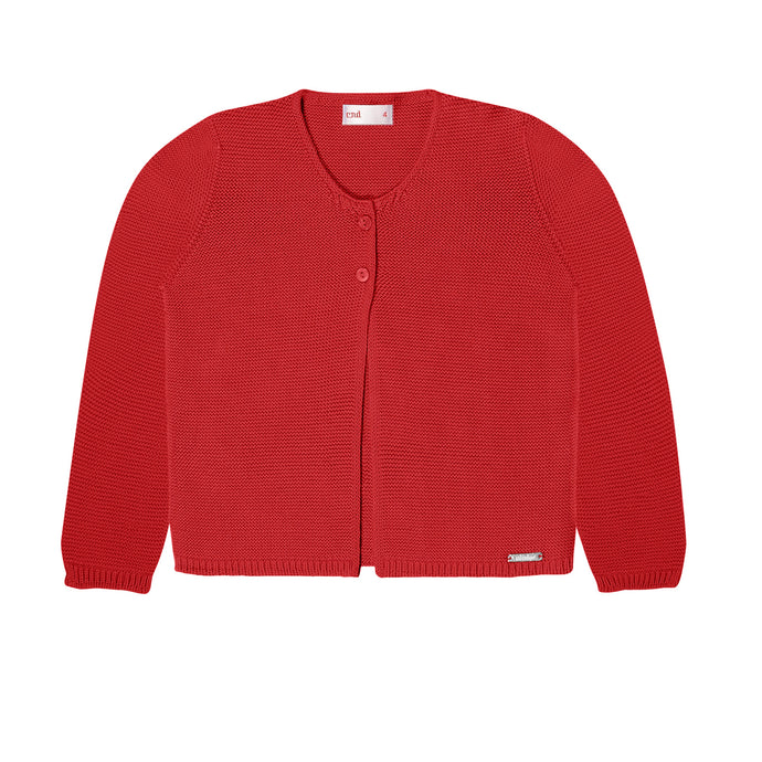 Moss Stitched Two Button Cardigan- Red