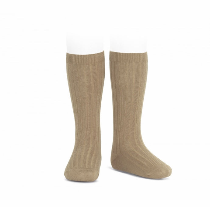 Ribbed Cotton Knee Sock- Camel