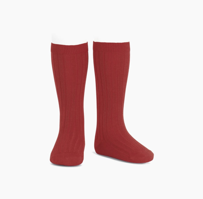 Ribbed Cotton Knee Sock- Red