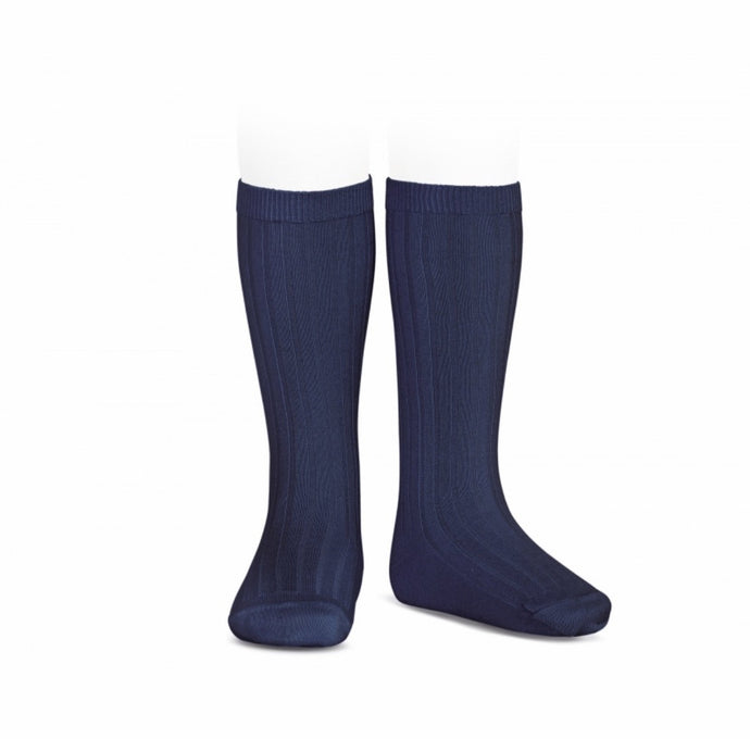 Ribbed Cotton Knee Sock- Navy