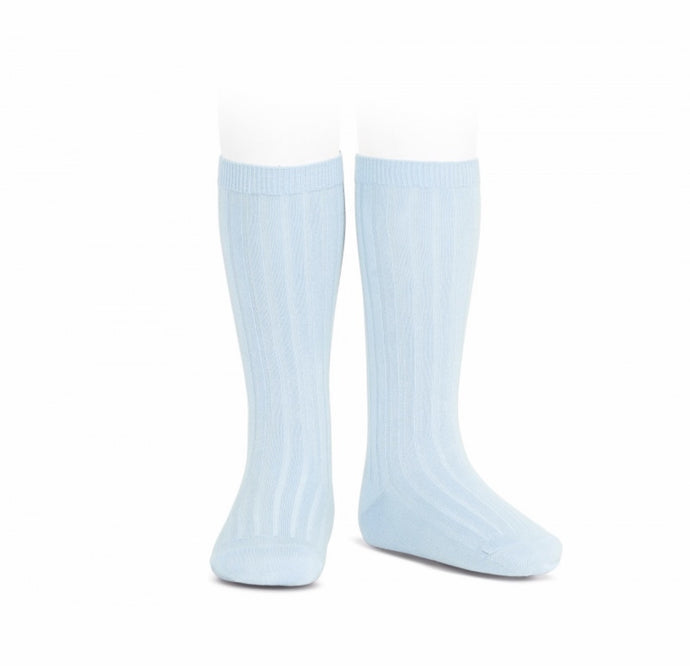 Ribbed Cotton Knee Sock- Light Blue