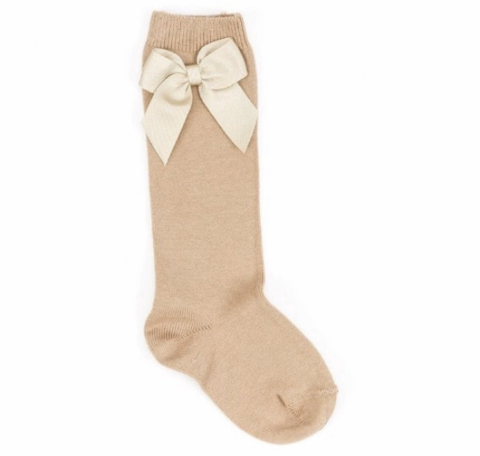 Grosgrain Bow Knee Sock- Camel