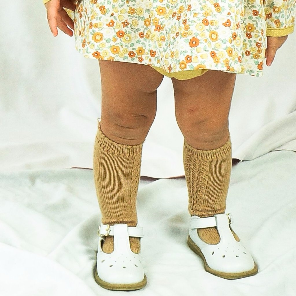 Crochet Knee Sock-  Camel (00, 4, 6)