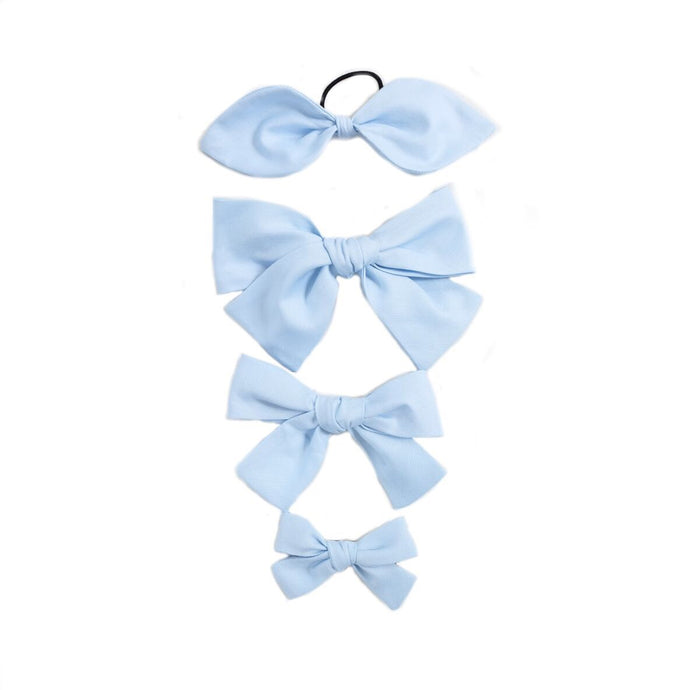 Handtied Hairbows Ice Cream Shop Blue Oxford (Sm, Med)