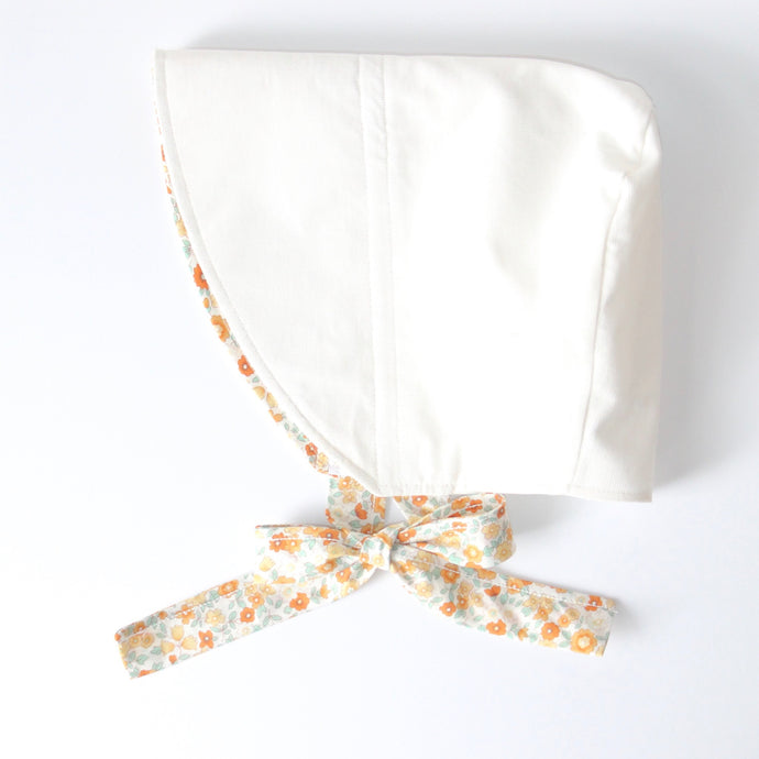 Baby Girl Bonnet- Autumn Floral/Ivory Corduroy