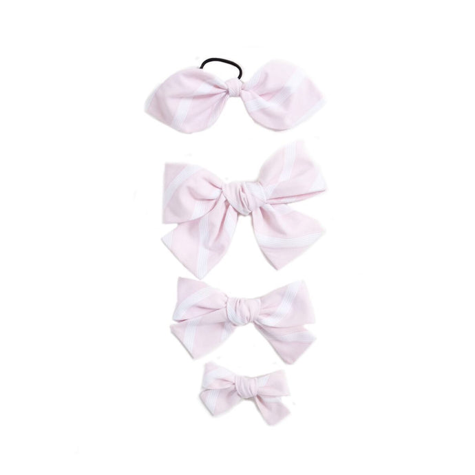 Handtied Hairbows Sweet Pea Stripe- Pink (Sm, Med, Lg)